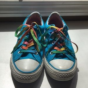 Blue and Rainbow Converse